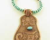 Etched Southwest Gecko on Copper with Turquoise and Magnesite Heishi