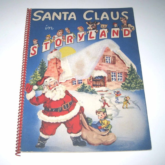 Lot Of 5 Vintage Christmas Decorations Kitsch Santa Claus: Santa Claus In Storyland Vintage 1950s Children's Pop Up