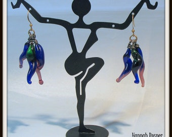 MADE TO ORDER Glassblower Inspired Glass Lampwork Chandelier squiggle Earrings - Blue, Green & Purple