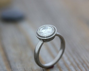 Moissanite Ring, White Gold Ring, Solitaire, Engagement Ring, Halo, Classic Details in this Conflict Free Eco Friendly