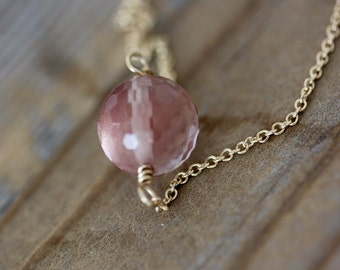 Ready To Ship, Pinky Peach Oregon Sunstone Necklace in Solid 14k Yellow Gold, Gemstone Necklace