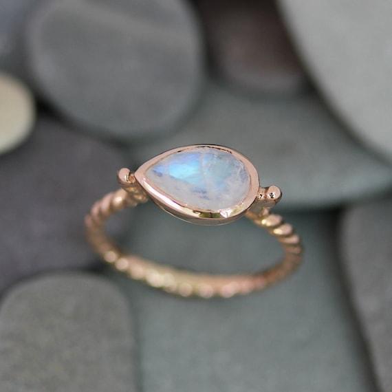 Rainbow Moonstone Ring, Pear Shaped Ring, Birthstone Jewelry, Moonstone Engagement Ring