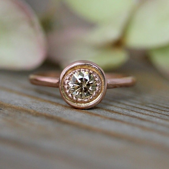 Conflict Free Champagne Diamond Halo Ring, 14k Recycled Rose Gold  Engagement Ring in Halo Design