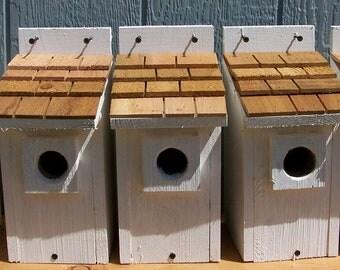 5 white bluebird houses nest with cedar shake roof handmade by Cedarnest