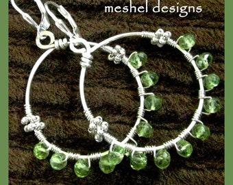 PERIDOT HOOPS Peridot Gemstone and Sterling Silver Hoop Earrings by Meshel Designs