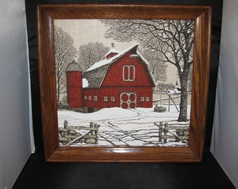 Vintage Red Barn Wall Hanging, Print on Fabric, Country Farm, Winter Snow, Christmas Decoration