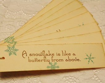 Handmade Vintage Style Snowlakes are butterflies from above - Christmas Gift Tags