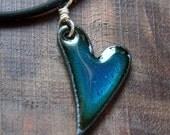XOXO Heart Necklace, Enamel Heart Jewelry, Blue Heart Pendant, Copper Enamel Jewelry, Show some LOVE