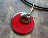 Enamel Necklace, Chestnut Brown and Apple Red Necklace, Copper Enamel Jewelry, Stacked Circle Jewelry, Valentine Red