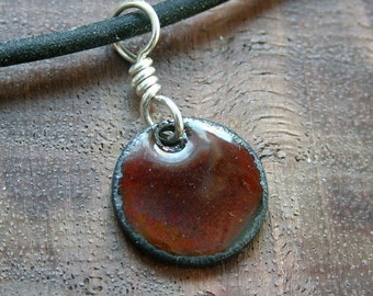 Chestnut brown pendant Copper Enamel necklace half inch disc handmade