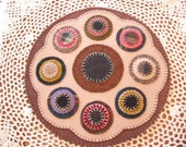 Primitive Candle Mat- Penny Rug - Table decor