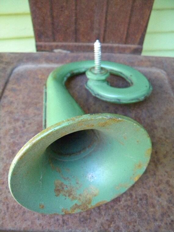 Interesting Vintage Green Metal Horn