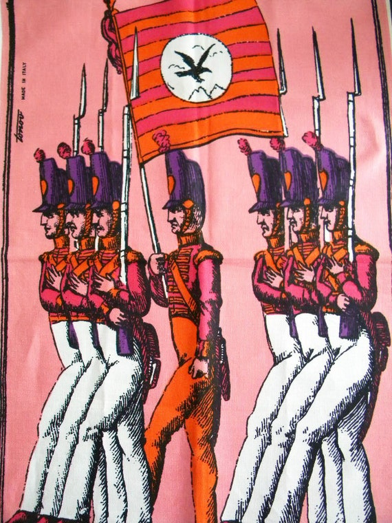 Vintage Pop Art Marching Soldiers Dish Towel