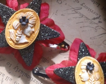 Athena - black glitter and crimson barrettes