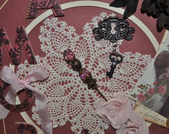Beautiful Amore French inspired Framed Collage Featuring a vintage stick pin - Doily - Satin Ribbon