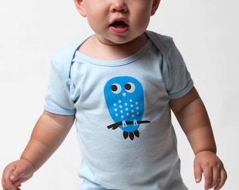 Blue Owl Baby Onesie