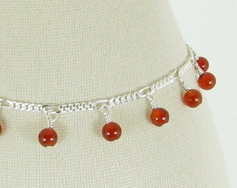 Carnelian and Sterling Silver Chain Bracelet