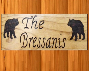 Personalized last name sign with Bears on it
