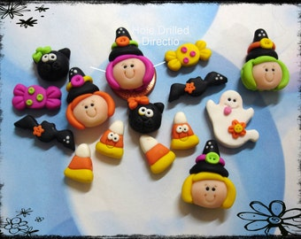 Halloween Witch Ghost Candy Corn Cat Set Polymer Clay Scapbooking Charm Bead