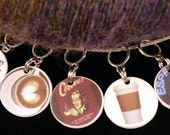COFFEE stitch markers for KNITTERS or CROCHETERS (set 1)
