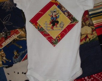 Retro Western Lil Cowboy playing harmonica baby onesie size 3 to 9 months
