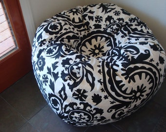 Bold Black and White Suzani print bean bag chair Made to Order