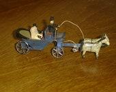 Antique German Penny Toy Erzgebirge Wood Miniature Bride/Groom Wagon