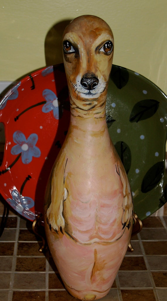 Custom Hand Painted BOWLING PIN with YOUR Dogs pet portrait on it all breeds Dacshund