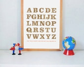 Wood Alphabet Print, kids wall art, wood grain, faux bois, modern nursery art, poster, baby room, new baby gift, decor, ready to ship, 8x10