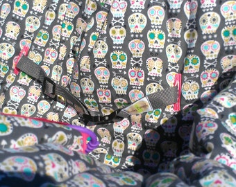 Sugar Skulls Reversible Shopping Cart Cover - Fits ALL Carts