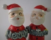 Vintage Hand Painted Santa Merry Christmas Salt and Pepper Shaker Set made in JAPAN