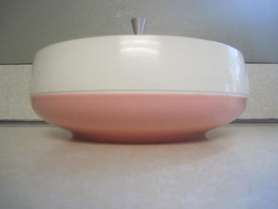 Vintage Pink Vacron Melamine Thermoware Covered Serving Dish Plastic Bowl Casserole Sewing Notions Craft Supply Stash Jewelry Box