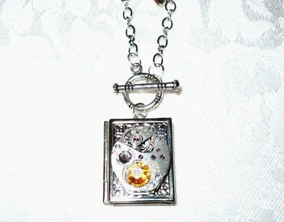 Steampunk Once Upon A Time Locket with Ruby Charm and Key
