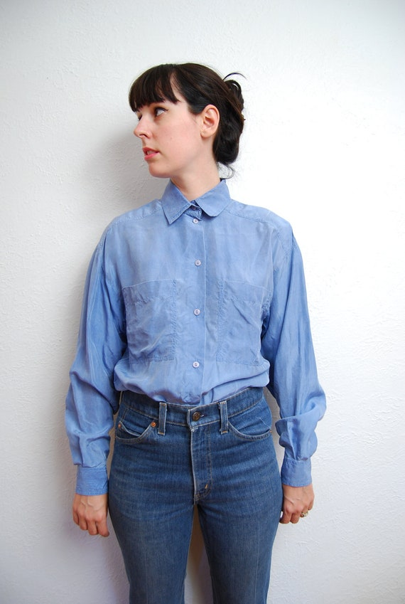 vintage 1990s / distressed silk  blouse / baby blue / over size / pointed collar / S-M