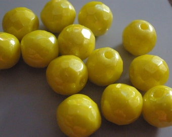 Vintage Glass Beads (12) Bright Lemon Yellow Luster Beads