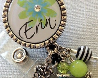 Personalized ID badge reel -RN, LPN Nurse Silver Pendant  - flower, medical symbol, medical office, nurse, nurse practitioner