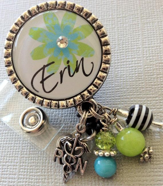 Personalized ID badge reel -RN, LPN Nurse Silver Pendant  - flower, medical symbol, medical office, nurse, nurse practitioner