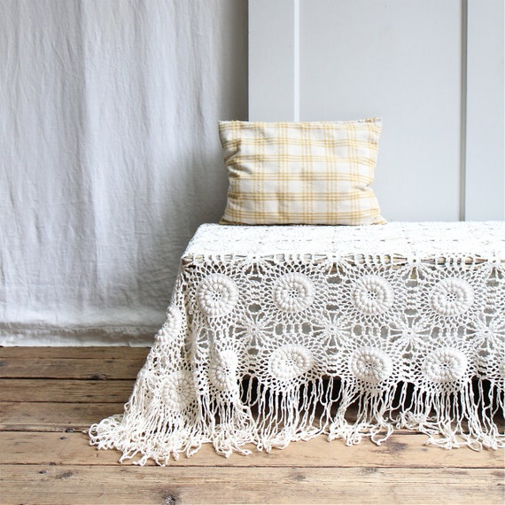 OH HOLD   /////    Vintage Crochet Bedspread / Coverlet, Throw, Bohemian, Modern Victorian, Bedding