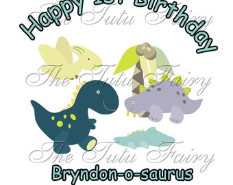 Birthday boy dinosaur shirt personalized name age 1st 2nd 3rd 4th 5th 6th 7th t-shirt