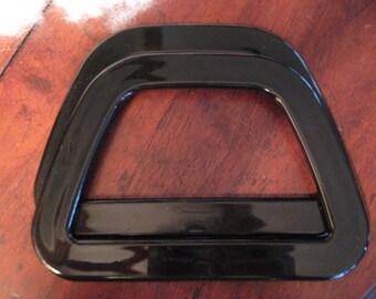 DESTASH------New BLACK Plastic Purse HANDLES