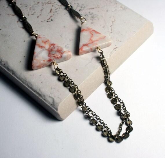 Triangle Necklace - Geometric Jewelry - Redline Marble - Bohemian Jewelry - Marble Jewelry
