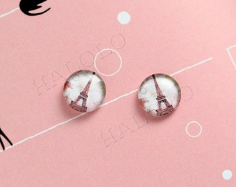Sale - 10pcs handmade Eiffel Tower in vintage style clear glass dome cabochons 12mm (12-9879)