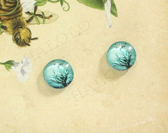 Sale - 10pcs handmade tree and flying birds round clear glass dome cabochons 12mm (12-0404)