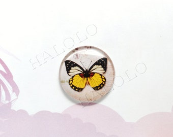 4pcs handmade yellow butterfly round clear glass dome cabochons 25mm (250462)