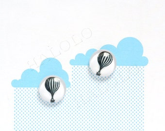 Sale - 10pcs handmade black and white balloon round clear glass dome cabochons 12mm (12--0524)