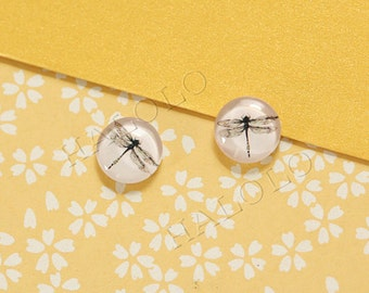 Sale - 10pcs handmade dragonfly clear glass dome cabochons 12mm (12-91207)