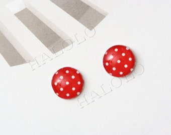 Sale - 10pcs handmade red dots round clear glass dome cabochons 12mm (12-94241)