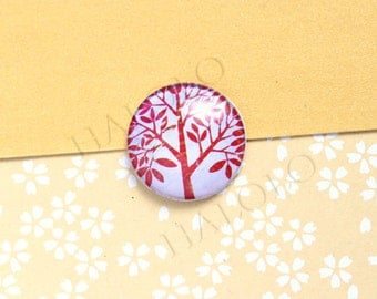 4pcs handmade red tree round clear glass dome cabochons 25mm (250630)