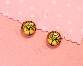 Sale - 10pcs handmade tree round clear glass dome cabochons 12mm (12-0629)