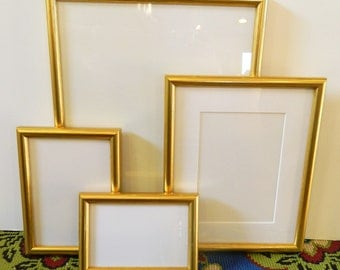 Set of 4 Bright Gold Picture Frames - Wedding Tables Favors Gifts